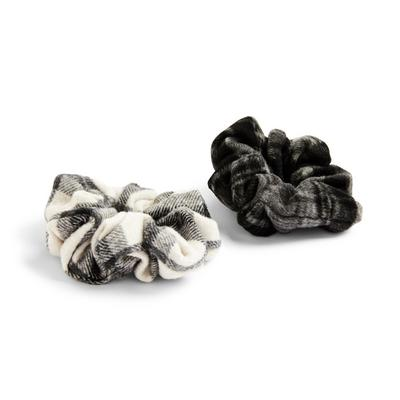 Übergroße Haargummis mit monochromen Karos, 2er-Pack