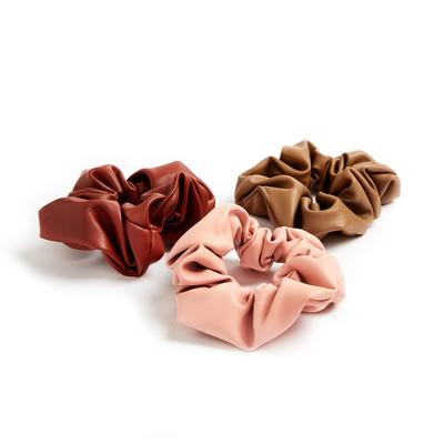3-Pack Multi Faux Leather Scrunchies