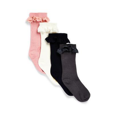 4-Pack Baby Girl Knee High Ruffle Trim Socks