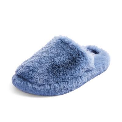Blue Faux Fur Fluffy Mule Slippers