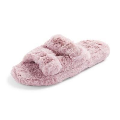 Mauve Faux Fur Double Buckle Slippers