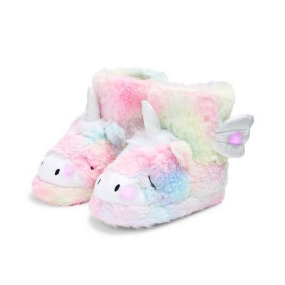 Younger Girl Pastel Unicorn Light Up Slipper Booties