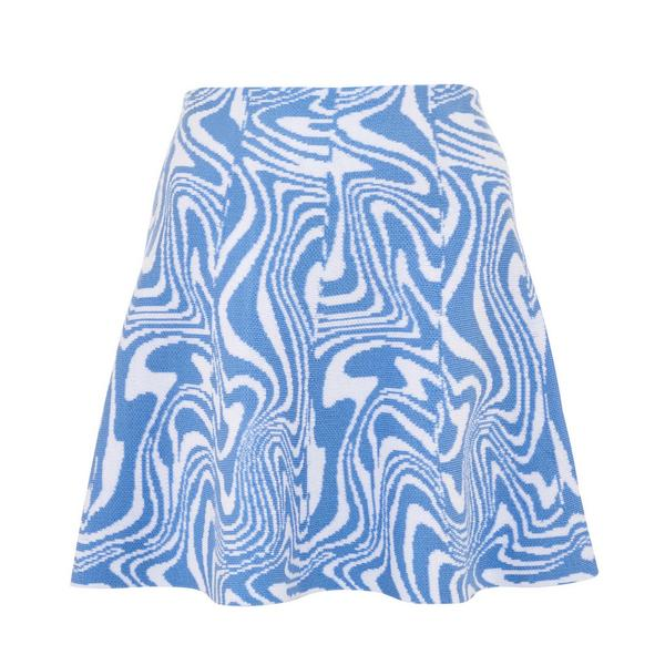 Blauer Strick-Skaterrock mit Wellenmuster