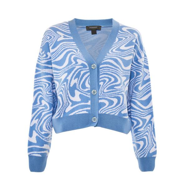 Blue Wave Knit Cropped Cardigan