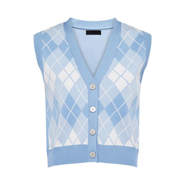 Blue Argyle Knitted Button Up Waistcoat