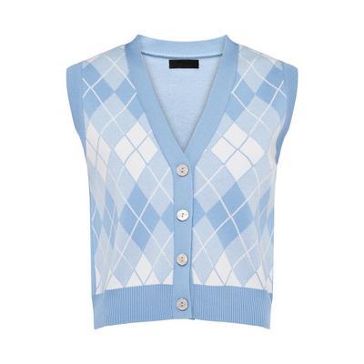 Colete malha padrão Argyle botões azul