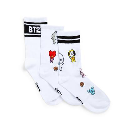 Pack de 3 pares de calcetines altos blancos con estampado de BT21