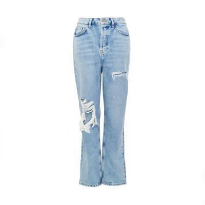 Primark Cares Blue Denim Straight Leg Ripped Jeans