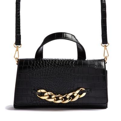 Black Faux PU Leather Chunky Chain Detail Crossbody Bag