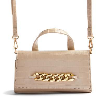 Beige Faux PU Leather Chunky Chain Detail Crossbody Bag