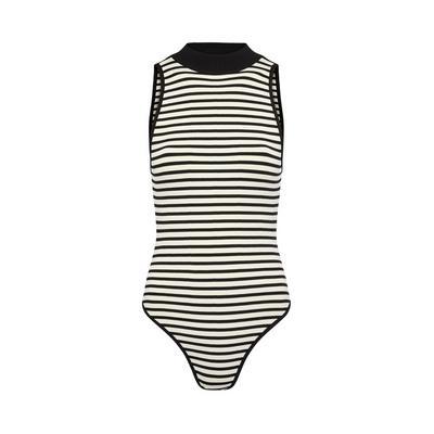 Monochrome Striped Turtle Body Suit