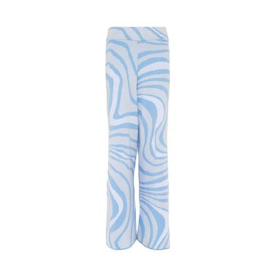 Blaue Strickhose mit Wellenmuster
