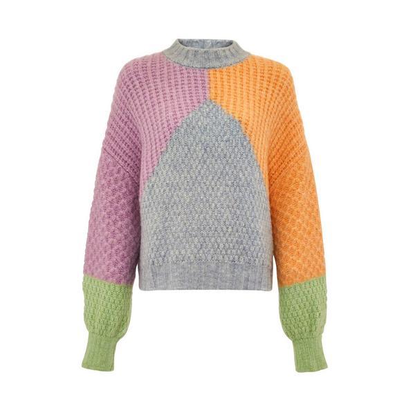 Mixed Colour Block Knit Jumper