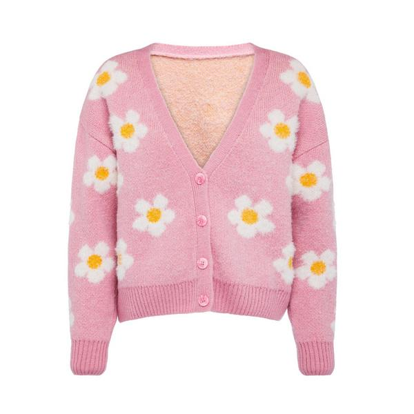 Pink 3D Daisy Knitted Cardigan