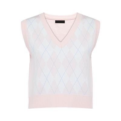 Pink Argyle V-Neck Vest