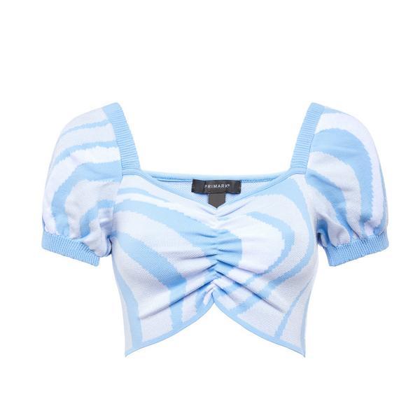 Blaues, bauchfreies Top mit Wellen-Print