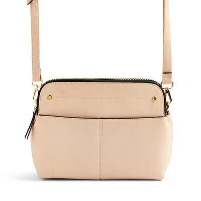 Beige Faux PU Leather Two Pocket Crossbody Bag