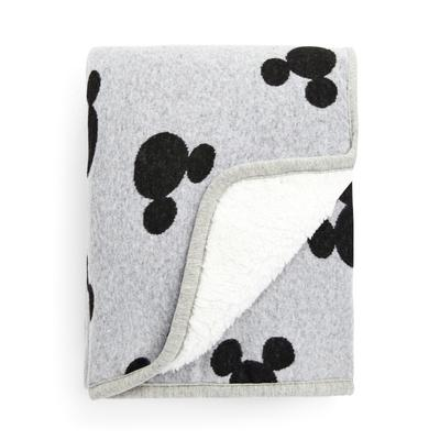 Grey Knitted Sherpa Disney Mickey Mouse Monochrome Throw