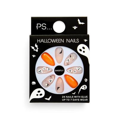 Ps Ghostly Halloween Pointed False Nails Set