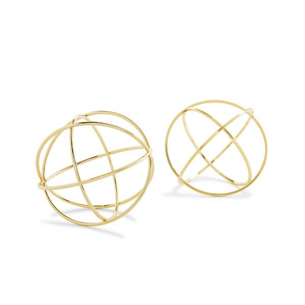 Goldtone Wire Sphere Ornaments