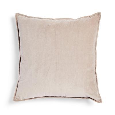 Taupe Velvet Linen Cushion