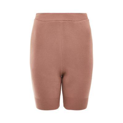 Pantalón corto entallado color teja con bordes