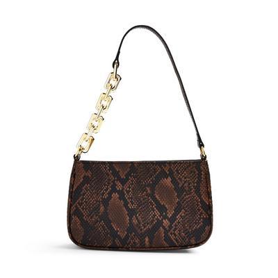 Snake Print Faux PU Leather Chain Detail Shoulder Bag