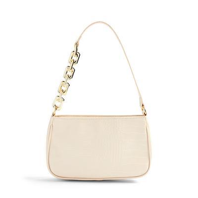 Cream Faux PU Leather Chain Detail Shoulder Bag