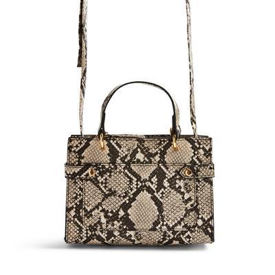 Snake Print Faux PU Leather Mini Tote Crossbody Bag
