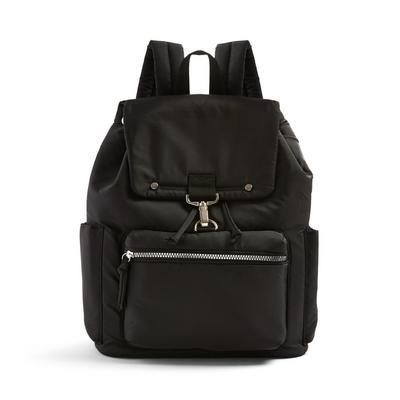 Black Nylon Puffy Backpack