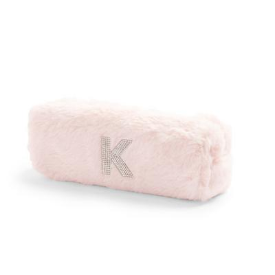 Pink Faux Fur Rhinestone K Initial Slim Pouch