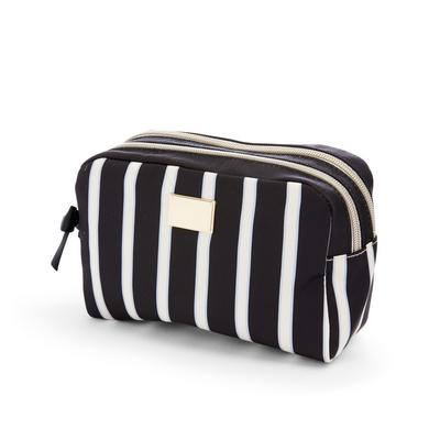 Navy Twill Striped Double Zip Make-Up Bag