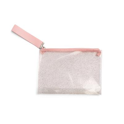 Clear Pink Glitter Flat Pouch