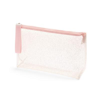 Clear Pink Glitter Toiletry Bag