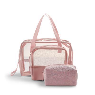 Clear Pink Glitter 3-in-1 Vanity Case Set