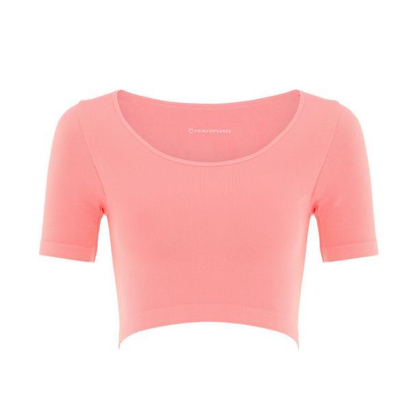Pink Seamfree Scoop Neck Crop Top