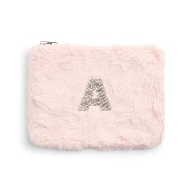 Pink Faux Fur Rhinestone A Initial Flat Pouch