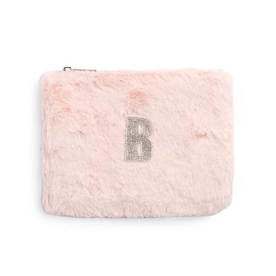 Pink Faux Fur Rhinestone B Initial Flat Pouch