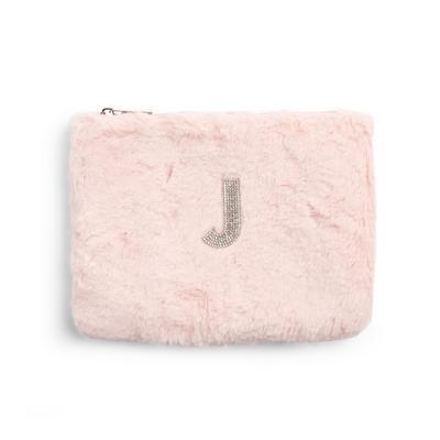 Pink Faux Fur Rhinestone J Initial Flat Pouch