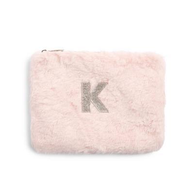 Pink Faux Fur Rhinestone K Initial Flat Pouch