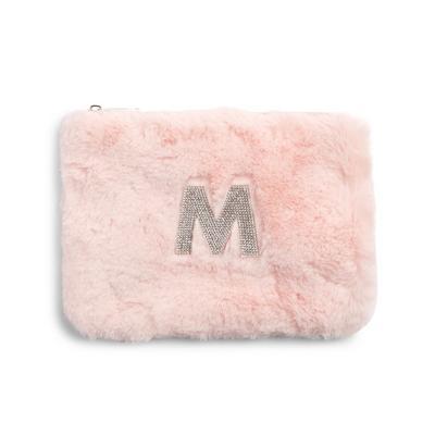 Pink Faux Fur Rhinestone M Initial Flat Pouch