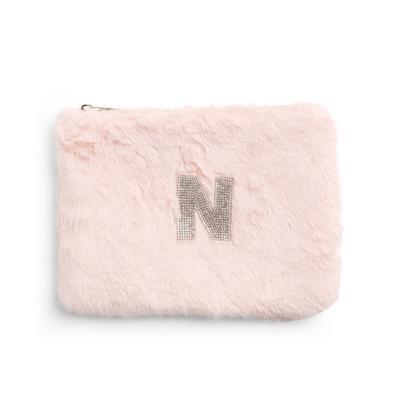 Pink Faux Fur Rhinestone N Initial Flat Pouch