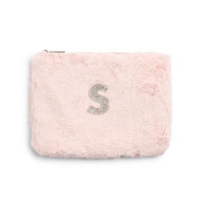 Pink Faux Fur Rhinestone S Initial Flat Pouch