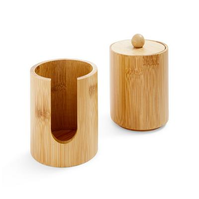 Wellness Wooden Cotton Bud Storage Jars