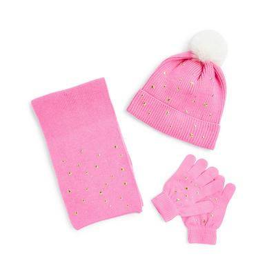 Pink Star Detail Hat Gloves And Scarf Set