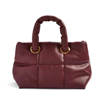Burgundy Faux PU Leather Grid Puffy Mini Tote Bag