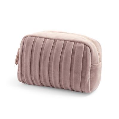 Taupe Pleated Velvet Toiletry Bag