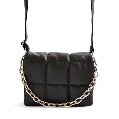 Black Faux Leather Puffy Grid Crossbody Bag