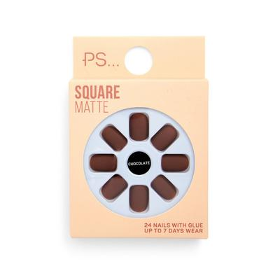 Ps Chocolate Square Matte False Nails Set