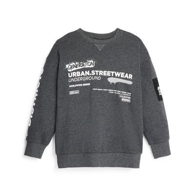 Sweat-shirt ras du cou anthracite à graffiti ado